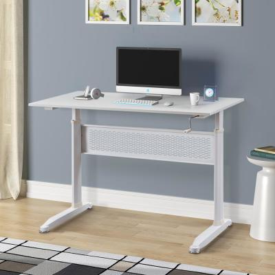 "28.7""-44.5"" Height White Metal Standing Desk with Crank"