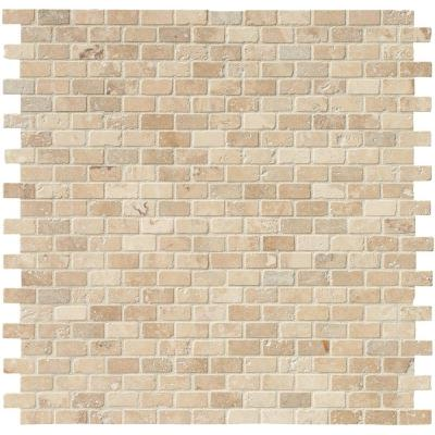 Chiaro Brick 12 in. x 12 in. x 10mm Textured Travertine Mesh-Mounted Mosaic Tile (10 sq. ft. / case)
