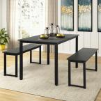 3-Piece Black Dining Table Set with 2-Benches