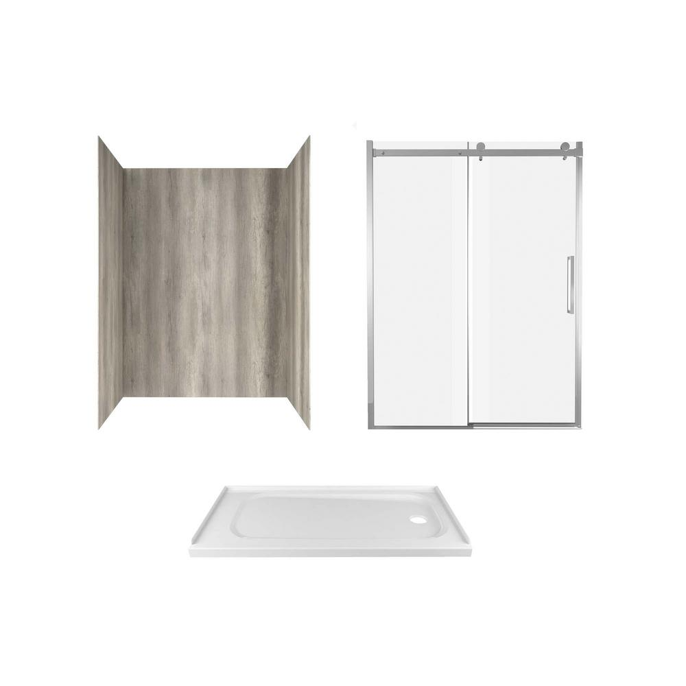 American Standard Passage 60 in. x 72 in. 3-Piece Glue-Up Alcove Shower Wall, Door and Base Kit with Right Drain in Gray Timber