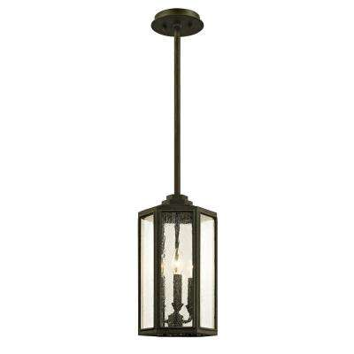 Hancock Vintage Bronze 3-Light 8.5 in. W Outdoor Hanging Light with Clear Seeded Glass