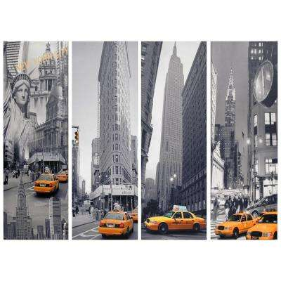 "Oriental Furniture 34 in. x 12 in. ""New York Taxi"" (Set of 4) Canvas Wall Art"