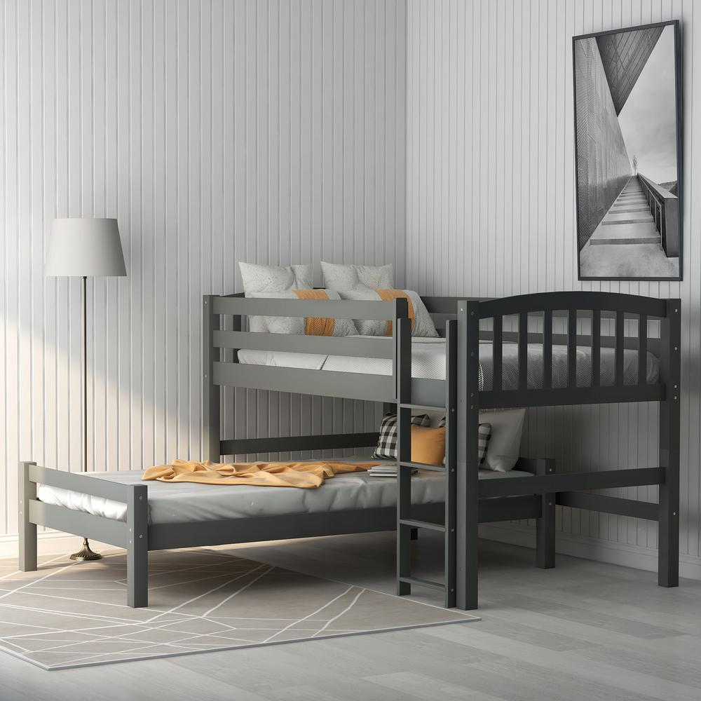 Gray Twin Binne Over Bunk Loft Bed