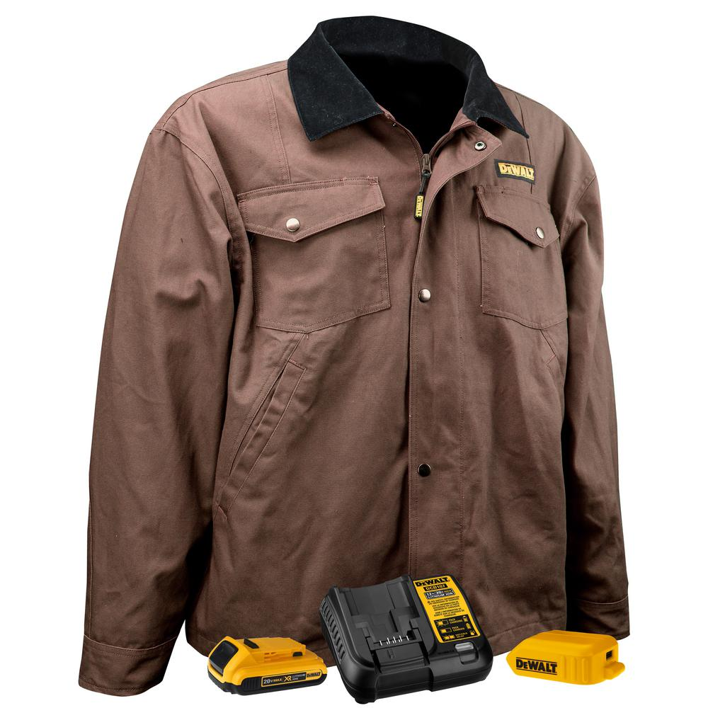 Unisex Medium Tobacco Duck Fabric Heated Barn Coat with 20-Volt/2.0 AMP