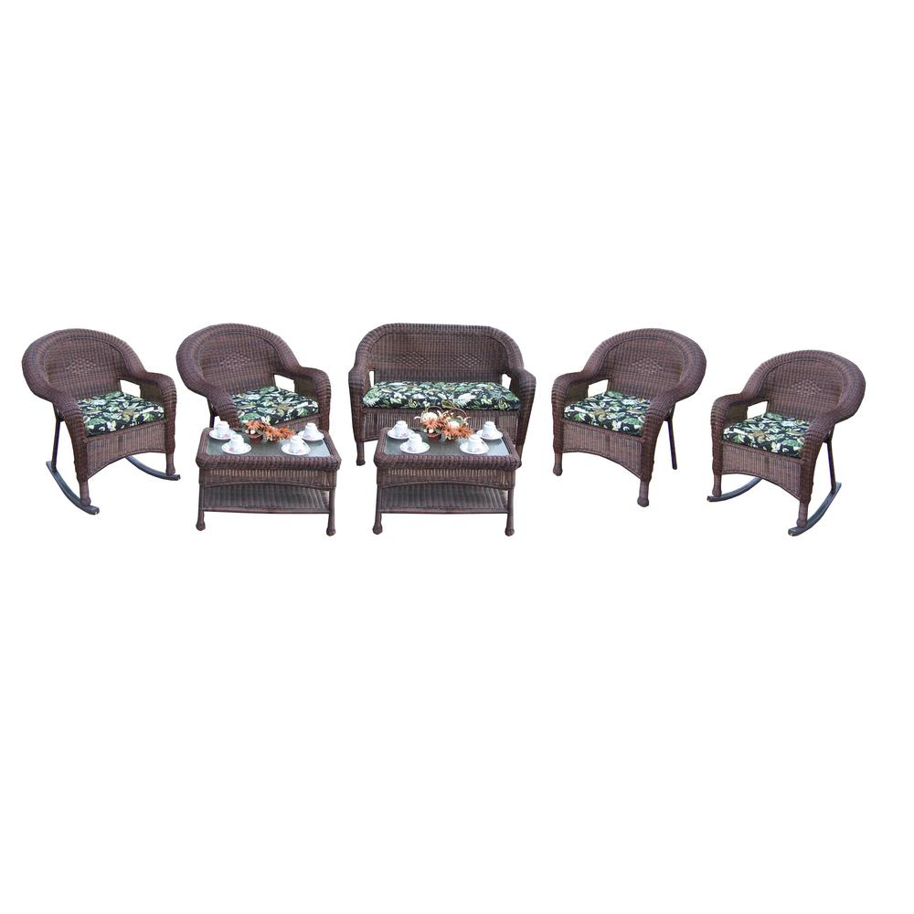 Coffee 7-Piece Wicker Patio Conversation Set with Black Floral Cushions