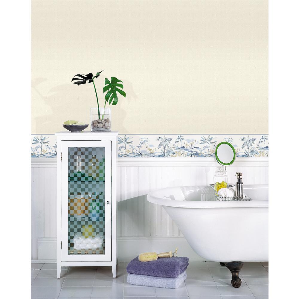 Blue bathroom wallpaper border - Chesapeake Lagoon Blue Watercolor Wallpaper Border Sample