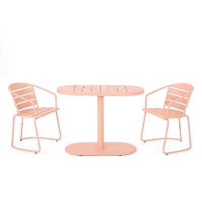 Matte Coral 3-Piece Metal Oval Outdoor Bistro Set