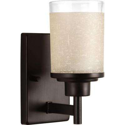 Alexa Collection 1-Light Antique Bronze Bath Sconce with Etched Umber Linen Glass Shade