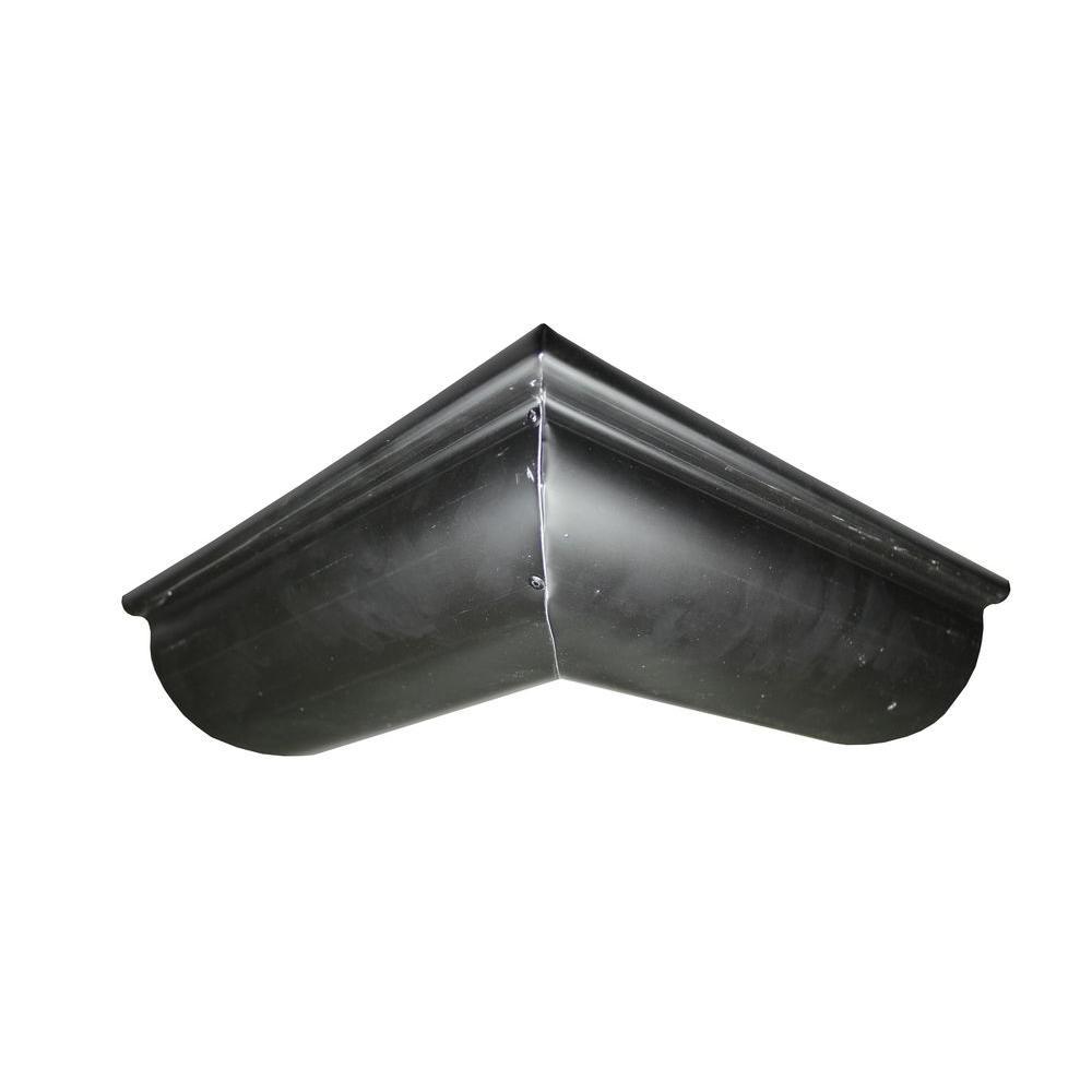6 in. Half Round Black Aluminum Outside Miter