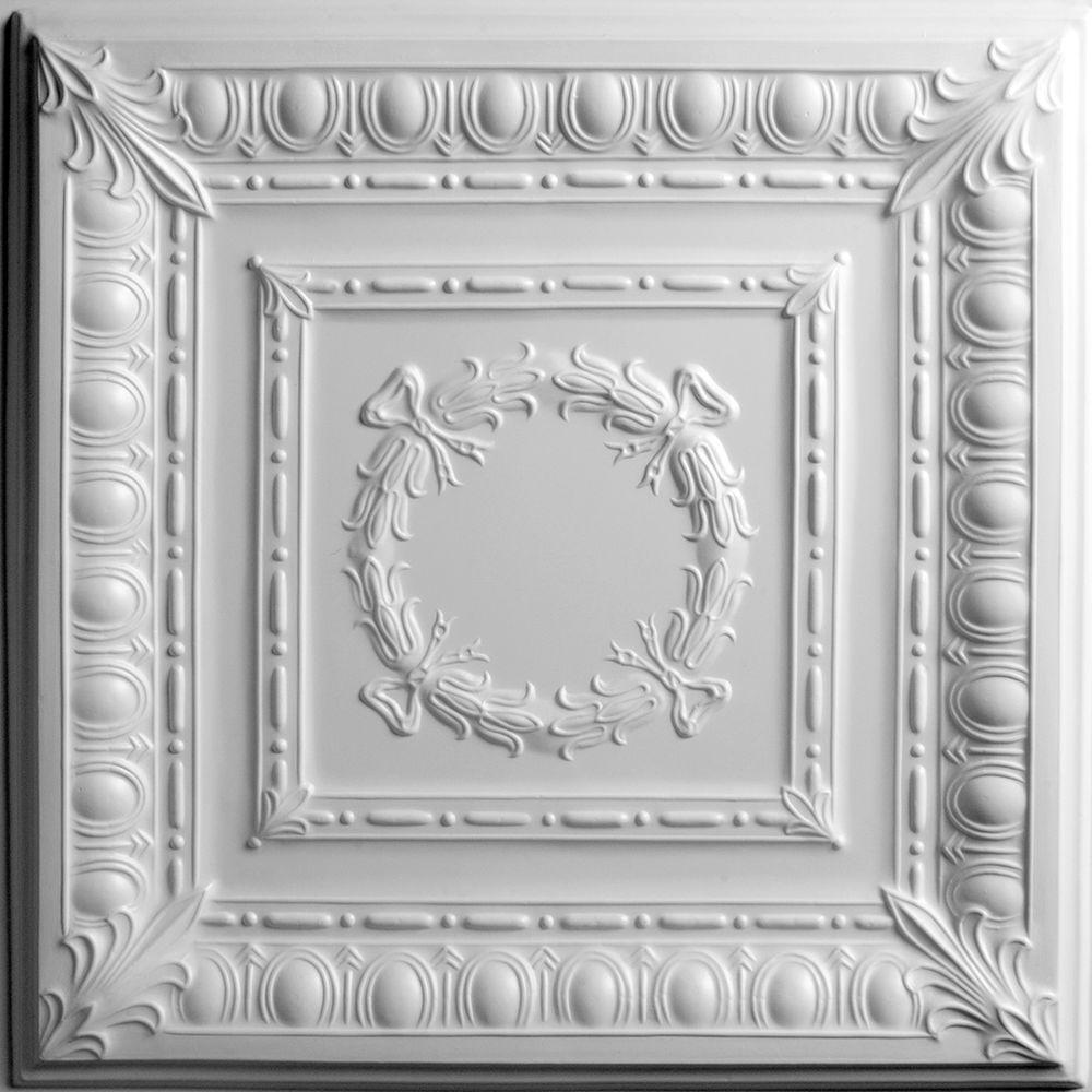 Ceilume Empire White Evaluation Sample, Not suitable for installation - 2 ft. x 2 ft. Lay-in or Glue-up Ceiling Panel