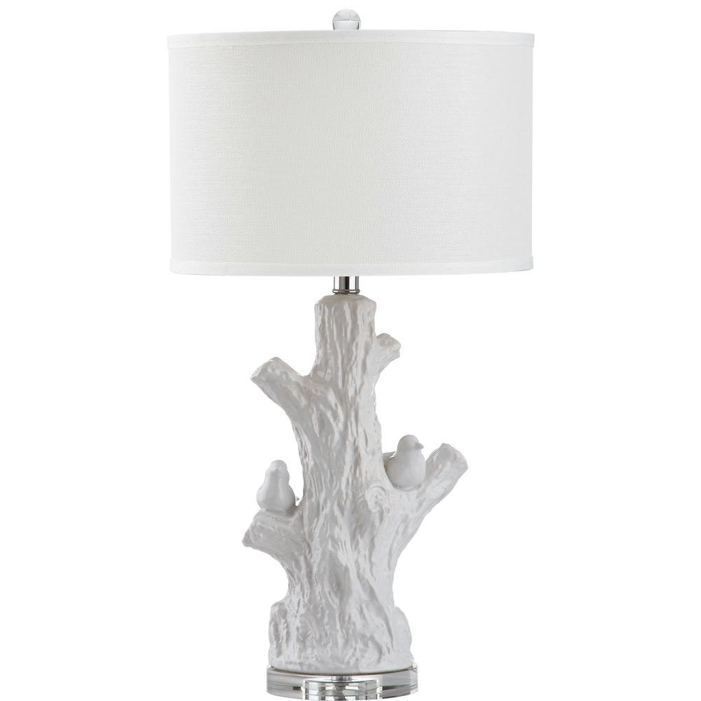 Lightwood Tree 27 in. Antique White Table Lamp with Off-White Shade