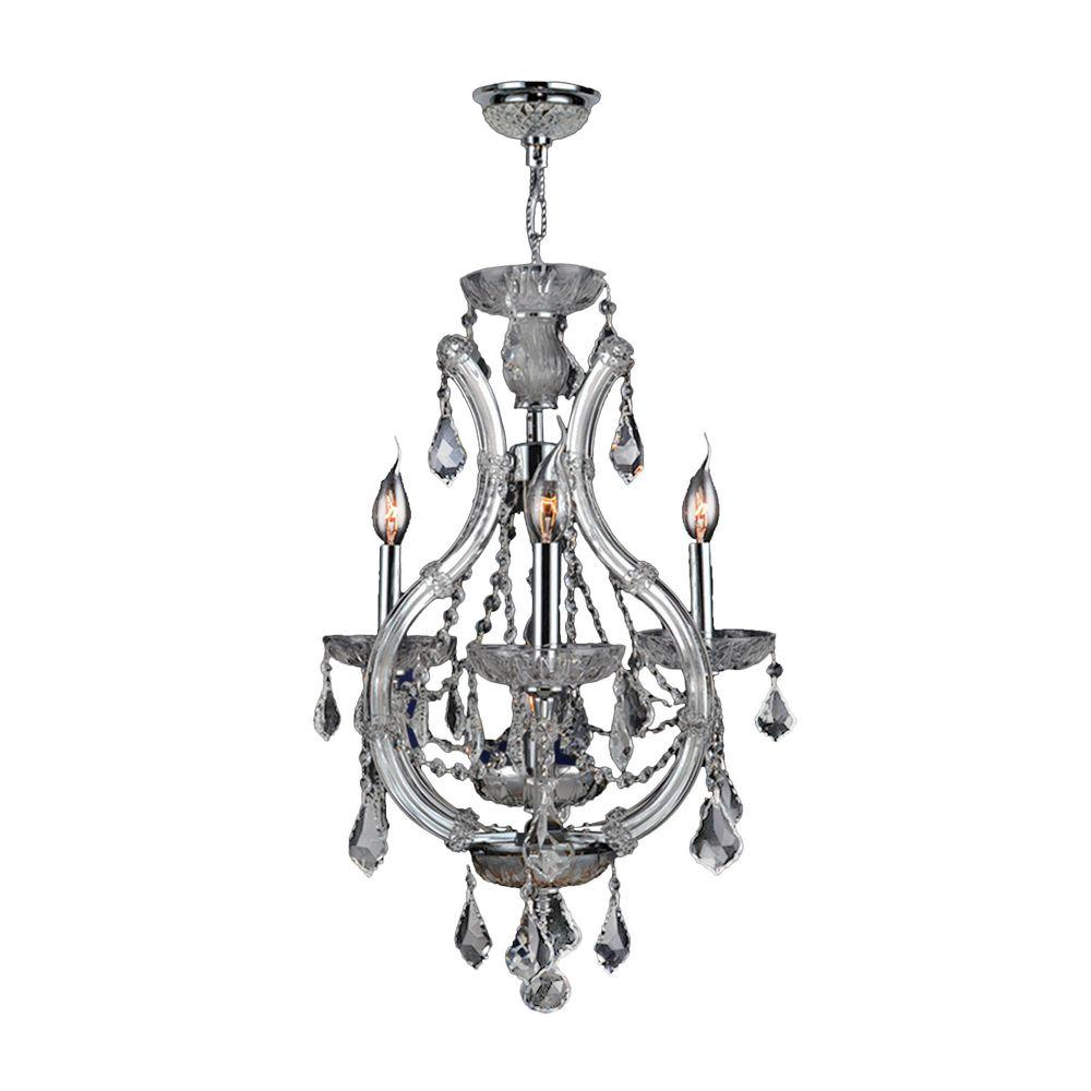 Lyre Collection 4-Light Polished Chrome Crystal Chandelier