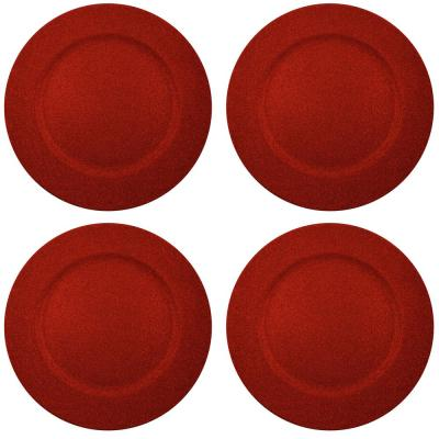 Home Essentials & Beyond 13 in. 4-Piece Twinkle Red Plate Charger Set