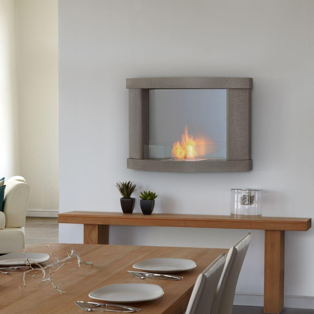 Real Flame Meridian 38 in. Wall-Mount Gel Fuel Fireplace in Pebble Gray-DISCONTINUED