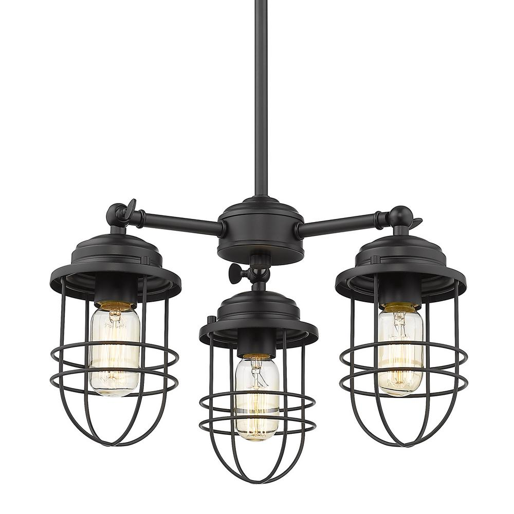 Golden Lighting Seaport 3-Light Black Chandelier