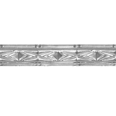 3 in. x 4 ft. Brite Chrome Nail-up/Direct Application Tin Ceiling Cornice (6-Pack)