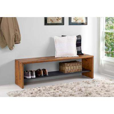 58 in. Amber Solid Reclaimed Wood Entry Bench
