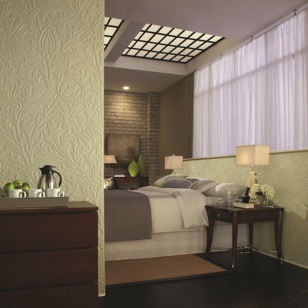 Fasade Nettle 96 in. x 48 in. Decorative Wall Panel in Cr...