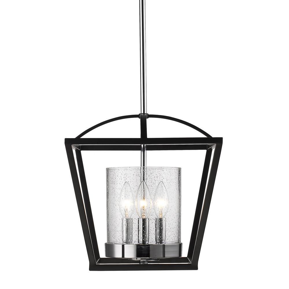 Mercer 3-Light Black Semi-Flush Mount Light