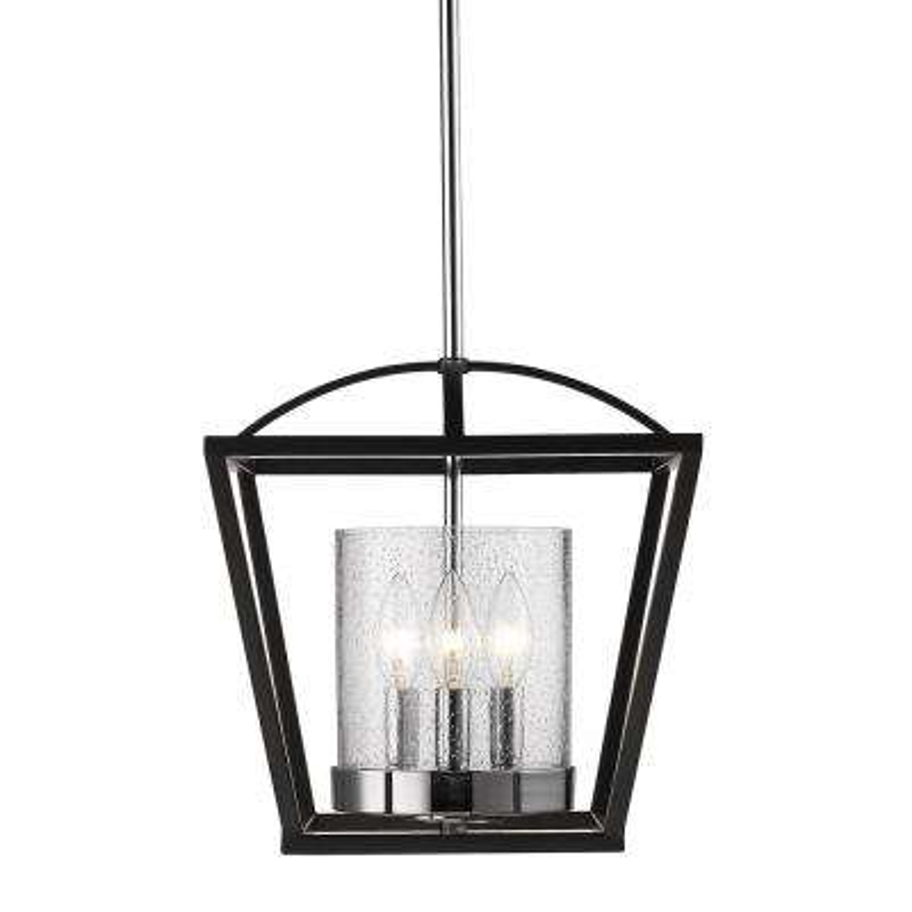 Mercer 3-Light Black Semi-Flushmount Light
