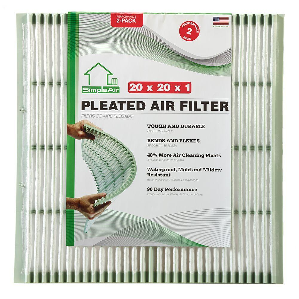 SimpleAir 20 in. x 20 in. x 1 in. Pleated FPR 7 Air Filter (2-Pack)