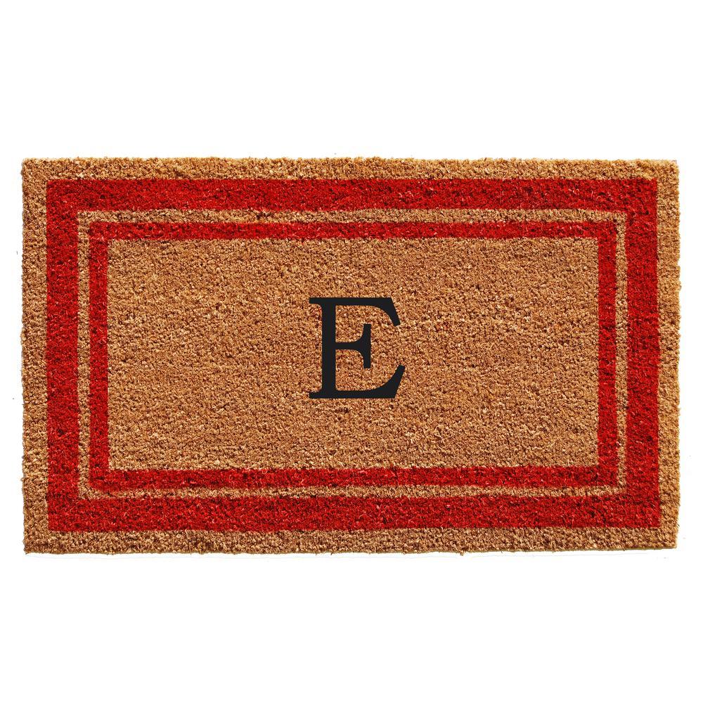 Calloway Mills Brown Border Monogram Door Mat 18 In X 30 In Letter I 152981830i The Home Depot