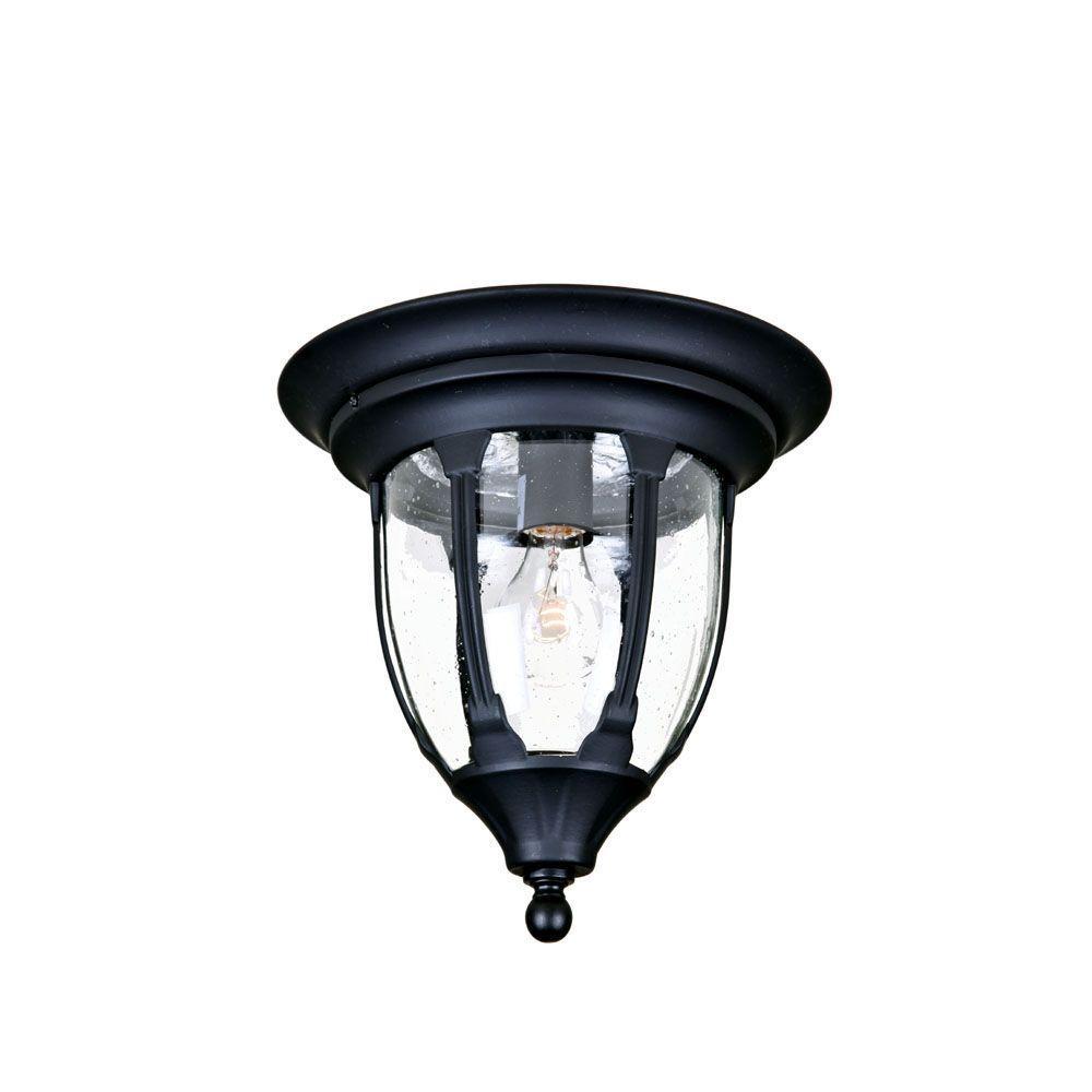 Suffolk Collection Ceiling-Mount 1-Light Outdoor Matte Black Fixture