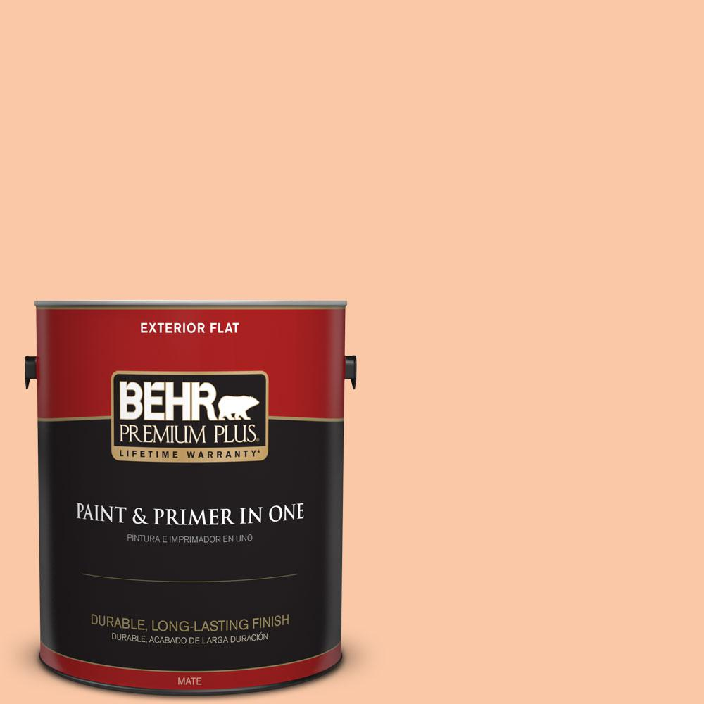 BEHR Premium Plus 1-gal. #250C-3 Fresco Cream Flat Exterior Paint