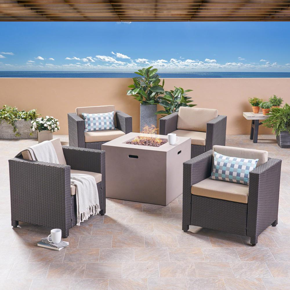 Noble House Maxwell Dark Brown 5-Piece Wicker Patio Fire Pit Conversation Set with Beige Cushions
