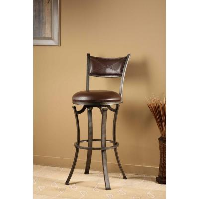 Drummond 26 in. Rubbed Pewter and Brown Swivel Counter Stool