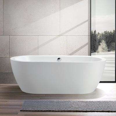 Cergy 67.7 in. Acrylic Flatbottom Freestanding Bathtub in White