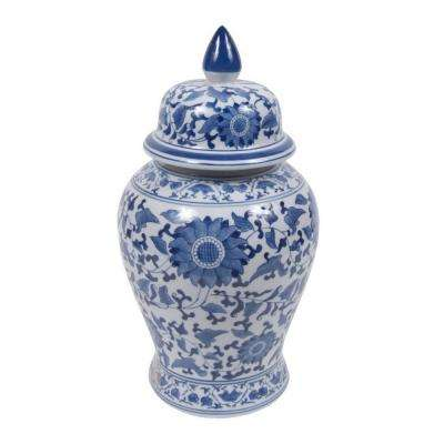 19 in. Blue and White Ceramic Temple Jar