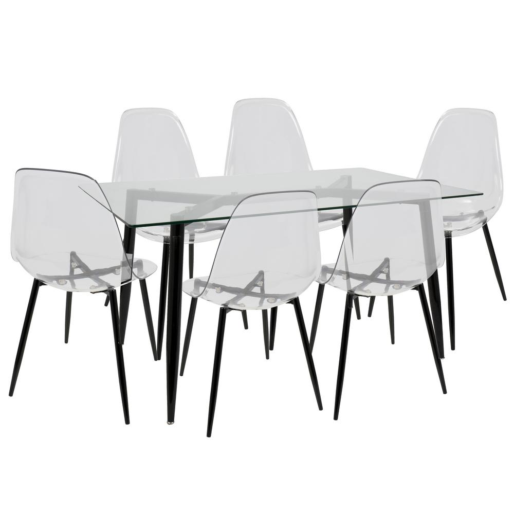 Lumisource clara mid century clear and black modern 7 for 7 piece dining room sets under 1000