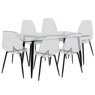 Clara Mid-Century Clear and Black Modern 7-Piece Dining Set