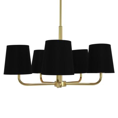 Evelyn 5-Light Black and Gold Chandelier with Linen Shade