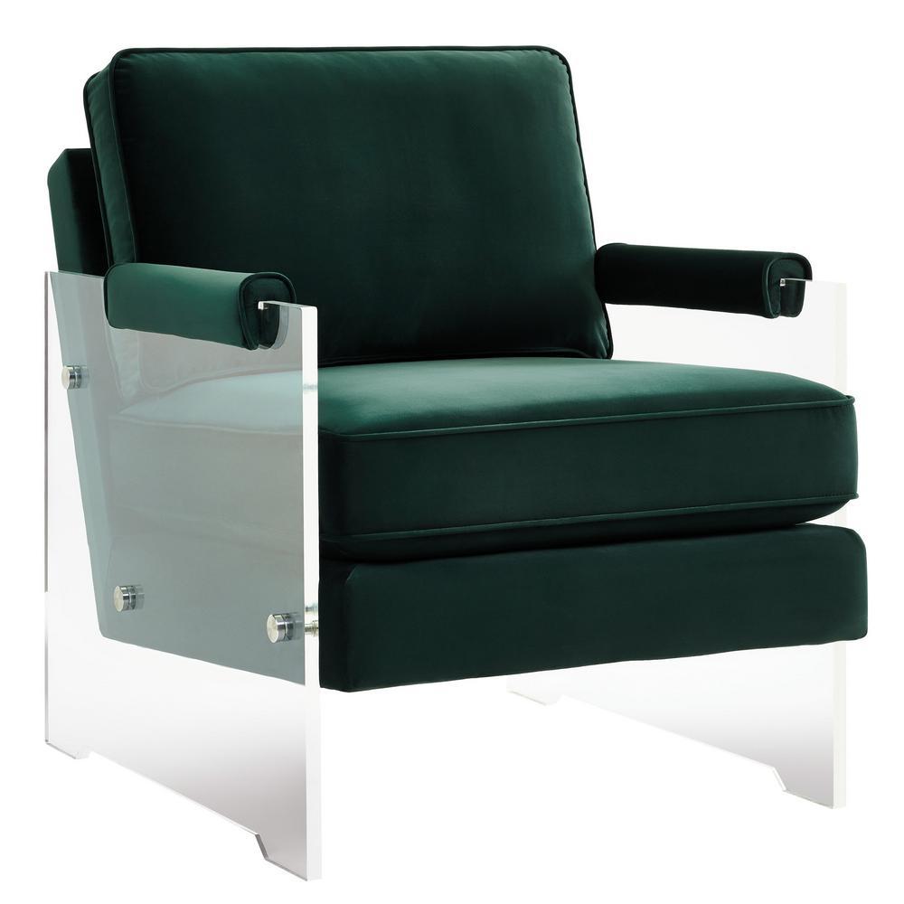 tov furniture serena green velvet lucite chair tov a106 the home depot