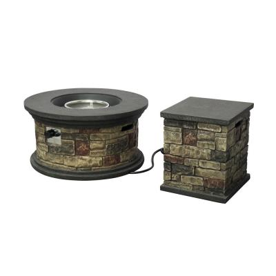 Chesney 16.25 in. x 19.75 in. Round Concrete Propane Fire Pit in Mixed Brown with Tank Holder