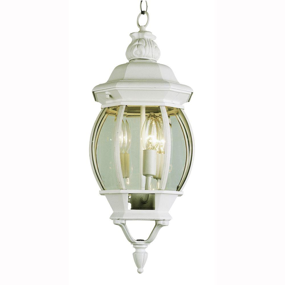 Bel Air Lighting 3-Light Outdoor Hanging White Lantern with Clear Glass