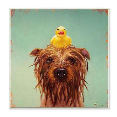 "12 in. x 12 in. ""Wet Dog with a Rubber Ducky Turquoise Bath Painting"" by Lucia Heffernan Wood Wall Art"
