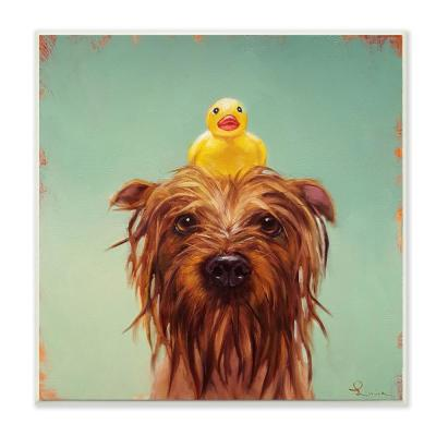 """12 in. x 12 in. """"Wet Dog with a Rubber Ducky Turquoise Bath Painting"""" by Lucia Heffernan Wood Wall Art"""
