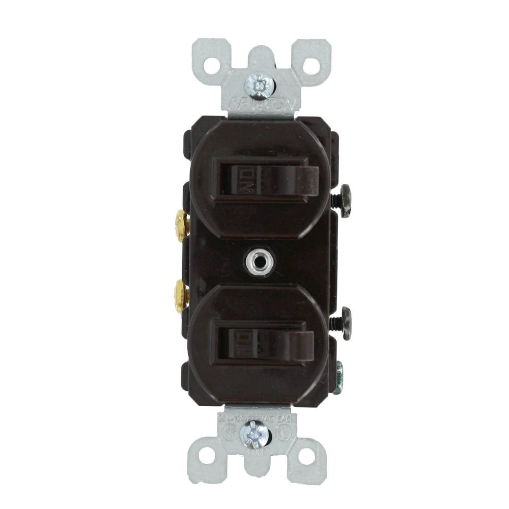 Leviton 20 Amp Commercial Grade Combination Two Single Pole Toggle White Switch Switches Brown