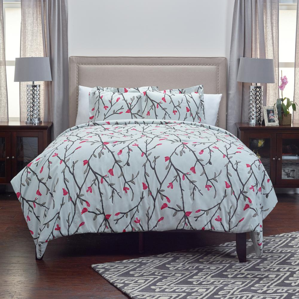 Ivory Twigs/Hot Pink Flowering Buds Pattern 3-Piece King Bed Set