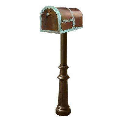 Antique Brass Patina Mailbox Non-Locking with Bronze Hanford Post System