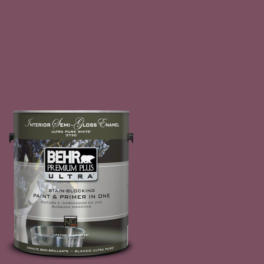 BEHR Premium Plus Ultra 1-gal. #UL100-20 Classic Berry Interior Semi-Gloss Enamel Paint-DISCONTINUED