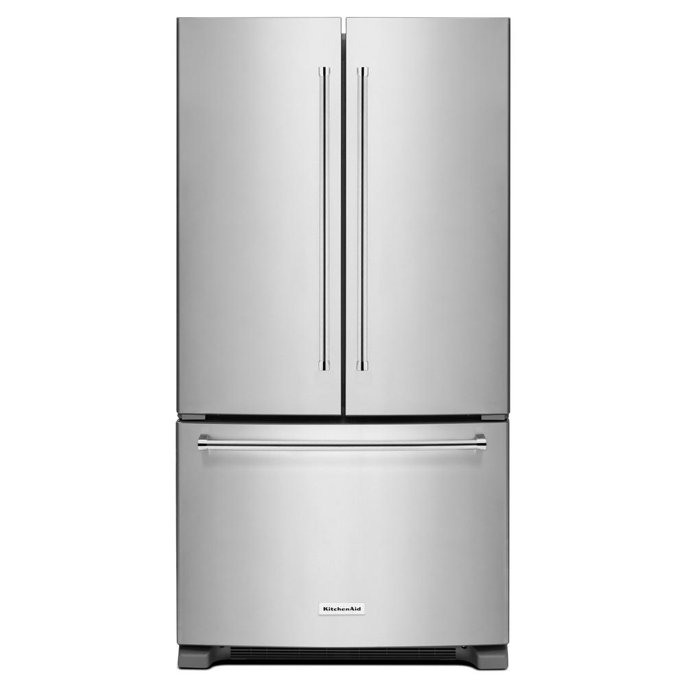 Kitchenaid 25 2 Cu Ft French Door Refrigerator In Stainless Steel