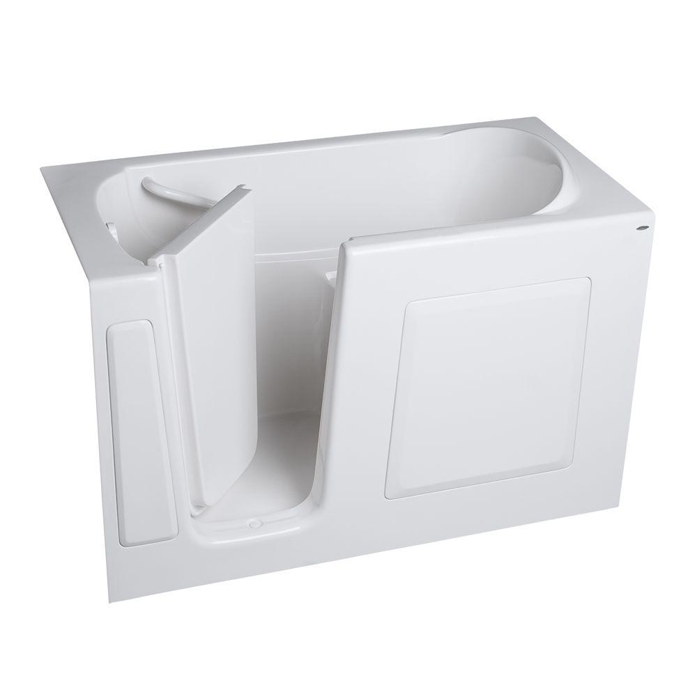 American Standard Gelcoat 4.25 ft. Walk-In Whirlpool and Air Bath Tub with Left Hand Quick Drain and Extension Kit in White