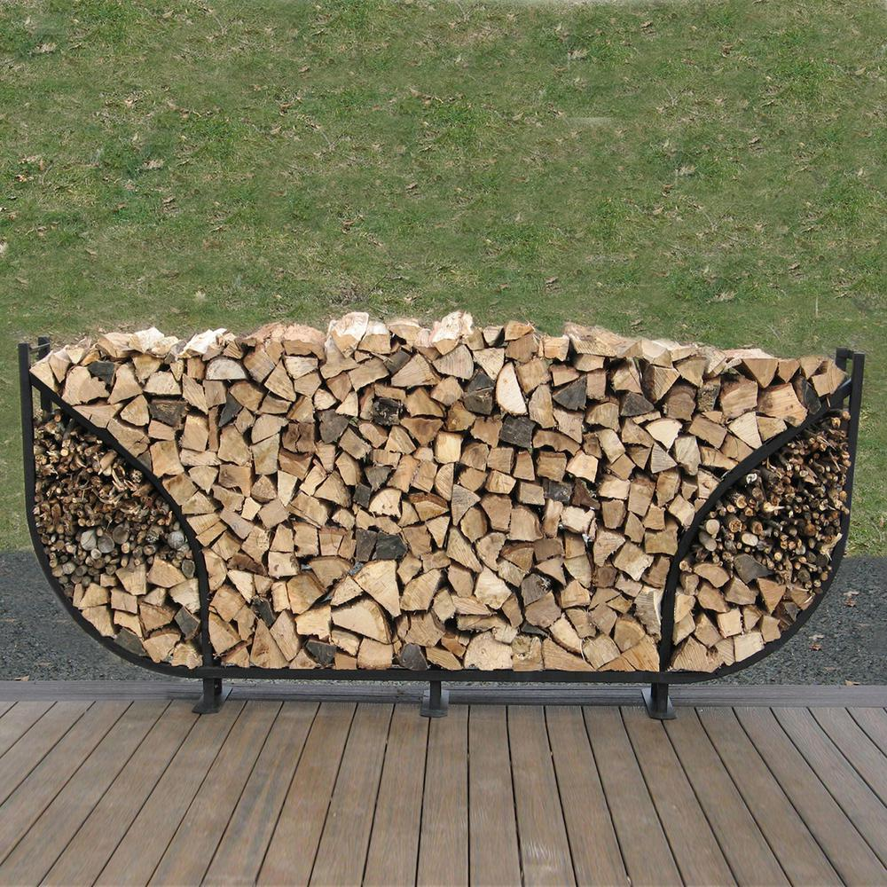 8 ft. Firewood Storage Log Rack with Kindling Holder Round Leg