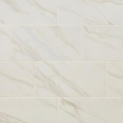 Selwyn Bianco Calacatta Matte 12 in. x 24 in. Glazed Porcelain Floor and Wall Tile (15.6 sq. ft./Case)
