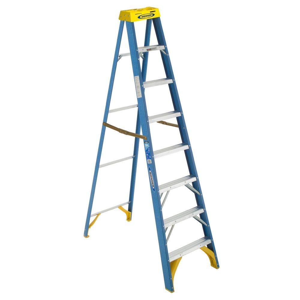werner 8 ft fiberglass step ladder with 250 lb load capacity type i duty rating 6008 the. Black Bedroom Furniture Sets. Home Design Ideas