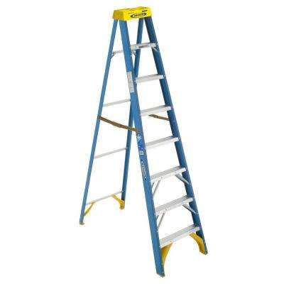 8 ft. Fiberglass Step Ladder with Yellow Top 250 lbs. Load Capacity Type I Duty Rating